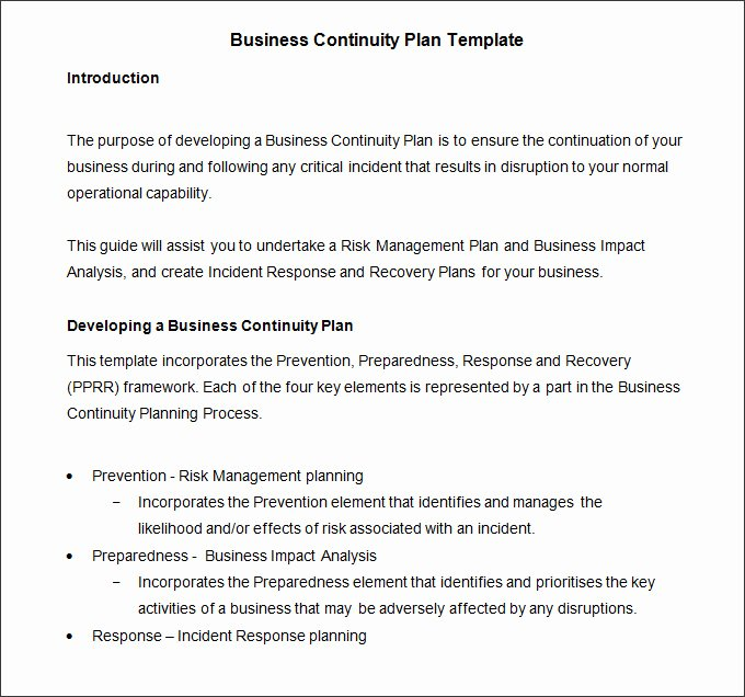 Business Continuity Plan Template Fresh Business Continuity Plan Template 9 Free Word Pdf