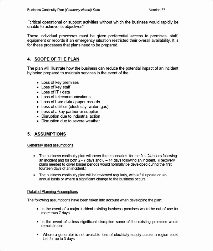 Business Continuity Plan Template Luxury Business Continuity Plan Template 9 Free Word Pdf