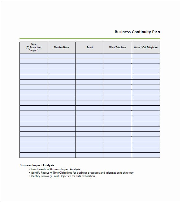 Business Continuity Plan Template Unique Business Continuity Plan Template – 12 Free Word Excel