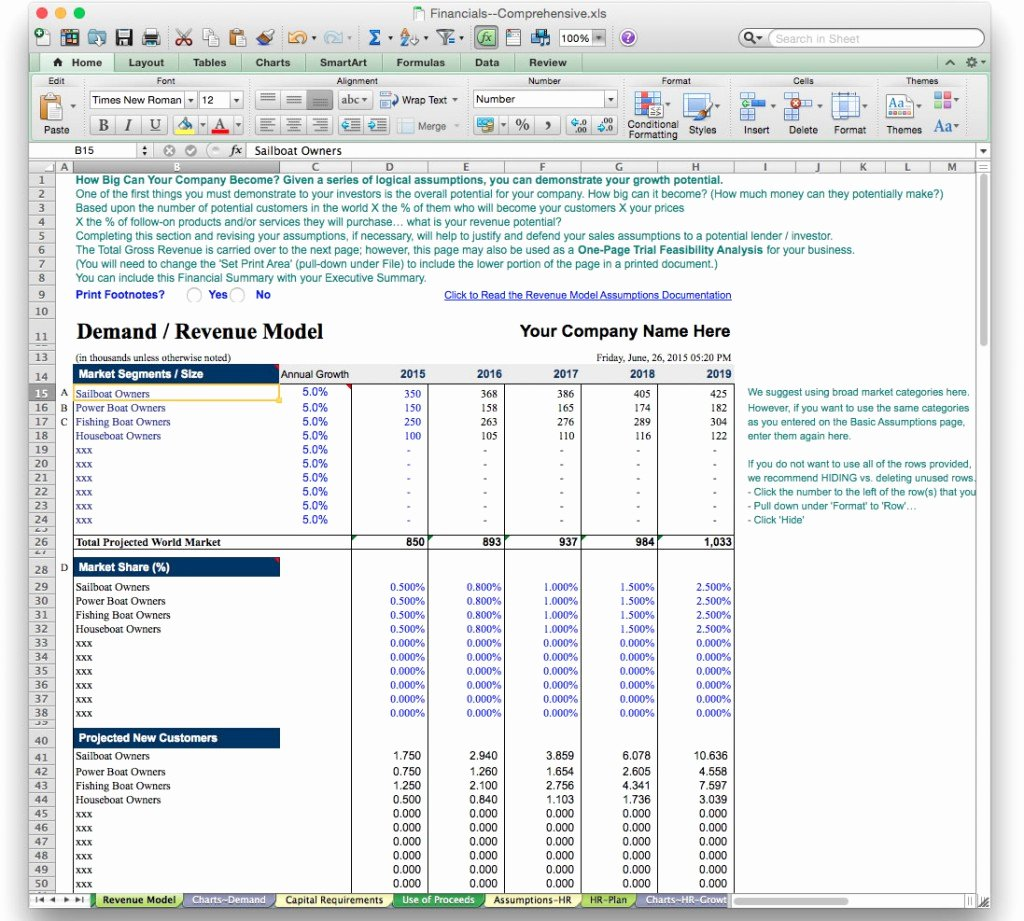 Business Financial Plan Template Excel Beautiful Business Plan Financial Model Template Bizplanbuilder