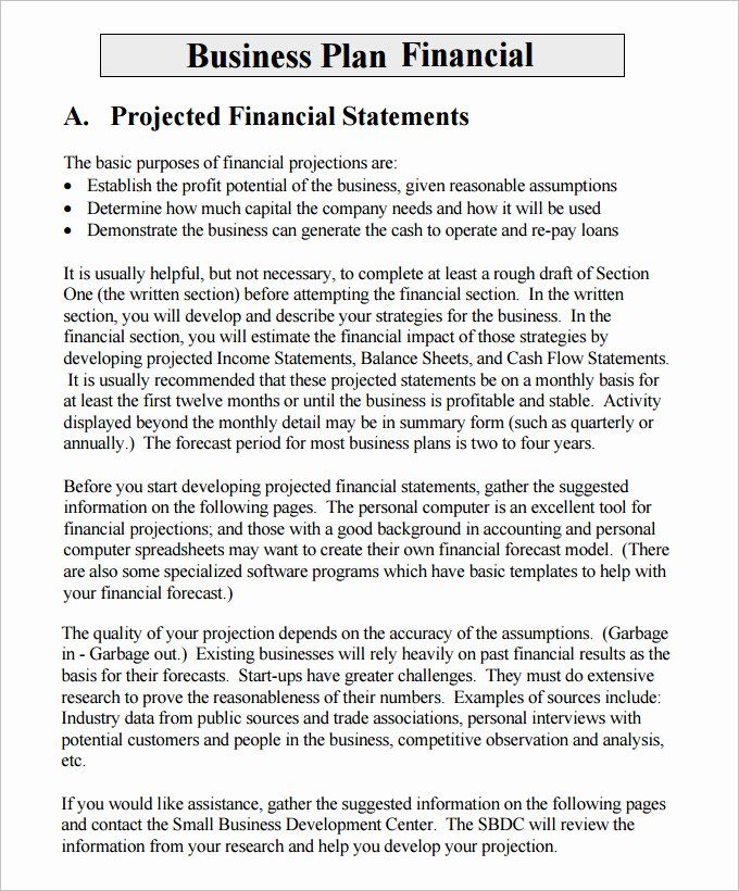 Business Financial Plan Template Excel Beautiful Financial Business Plan Templates 11 Premium Word
