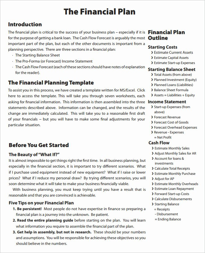 Business Financial Plan Template Excel Lovely Financial Business Plan Templates 11 Premium Word