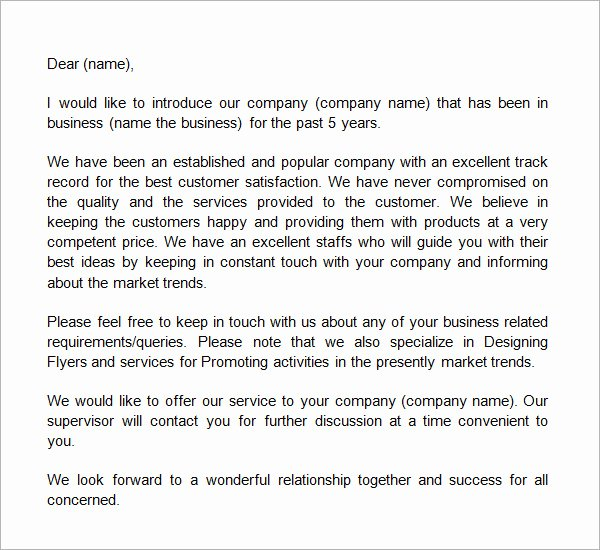 Business Introduction Letter format Beautiful 21 Sample Business Introduction Letters Pdf Do9