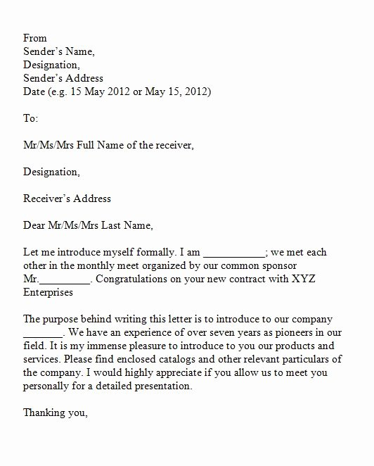 Business Introduction Letter format Beautiful 40 Letter Of Introduction Templates & Examples