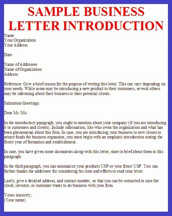 Business Introduction Letter format Beautiful Business Letter Sample Business Letter Introduction