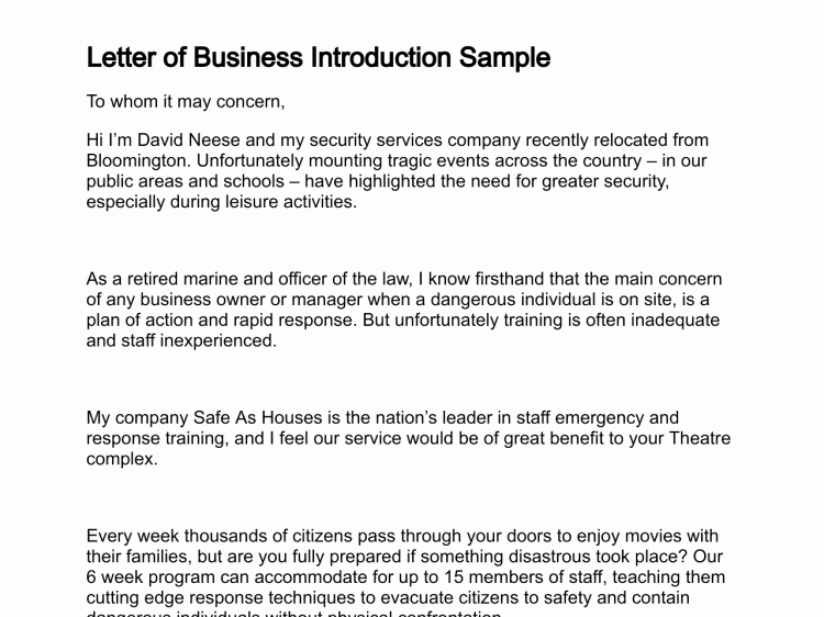 Business Introduction Letter format Beautiful Letter Of Business Introduction