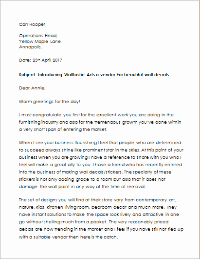 Business Introduction Letter format Best Of Pany Introduction Letter Template for Word