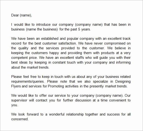 Business Introduction Letter format Elegant Business Introduction Letter Template …