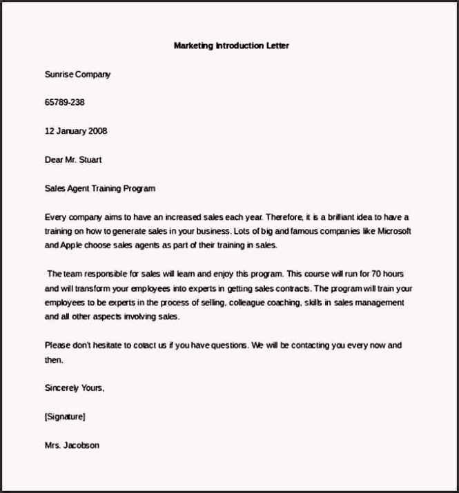 Business Introduction Letter format Elegant Free Marketing Letter Of Introduction Template Example