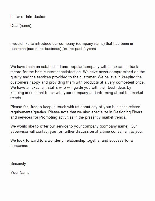 Business Introduction Letter format Elegant Letter Of Introduction Template 15 Sss