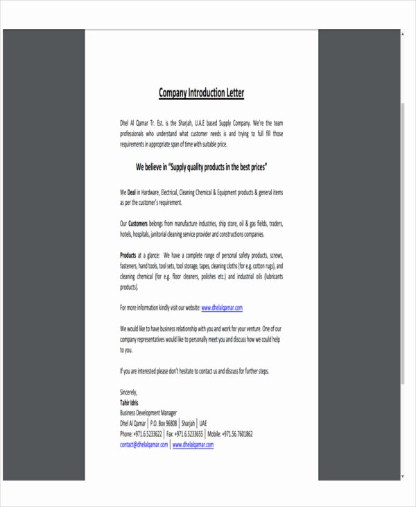 Business Introduction Letter format Inspirational 6 Pany Letter Templates 6 Free Sample Example
