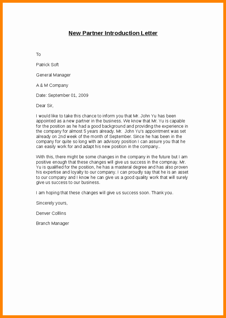Business Introduction Letter format Lovely 10 Introduction Mail In New Pany