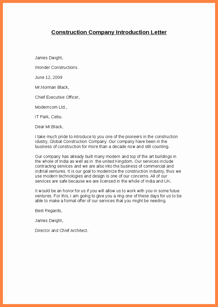 Business Introduction Letter format Lovely 6 Pany Introduction Letter Sample Doc
