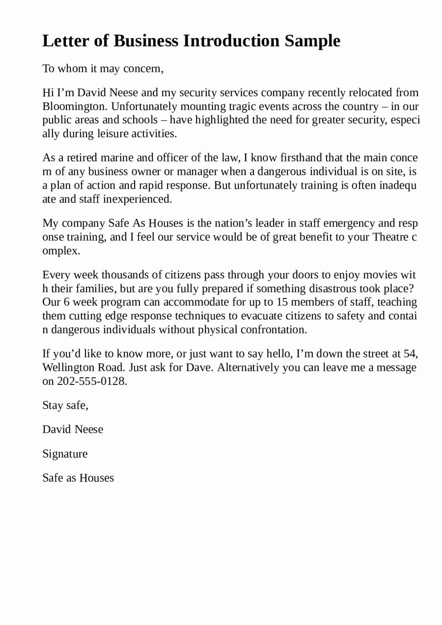Business Introduction Letter format Luxury 5 Business Introduction Letter Templates formats