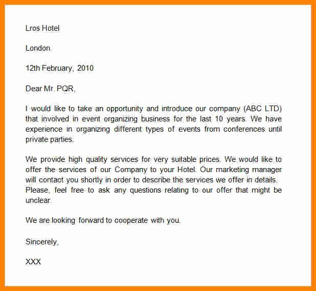 Business Introduction Letter format Luxury 5 Professional Self Introduction format