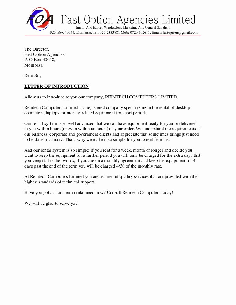 Business Introduction Letter format New Sample Business Introduction Letter