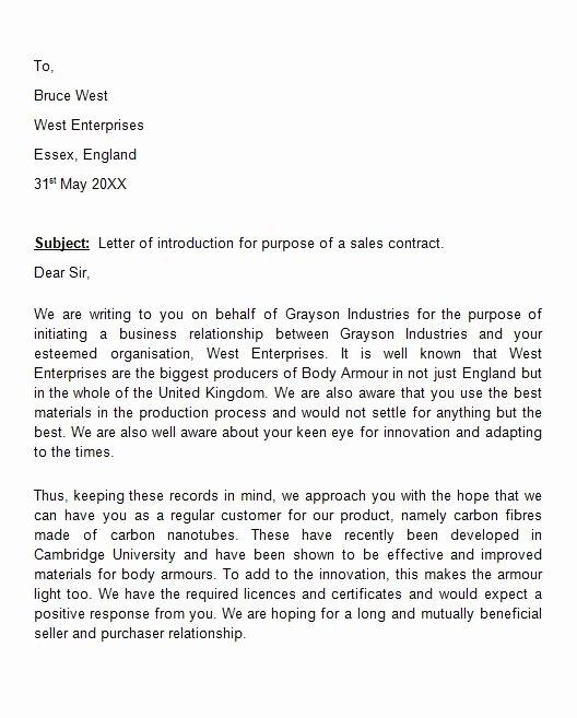 Business Introduction Letter format Unique 41 Free Letter Of Introduction Templates & Examples Free