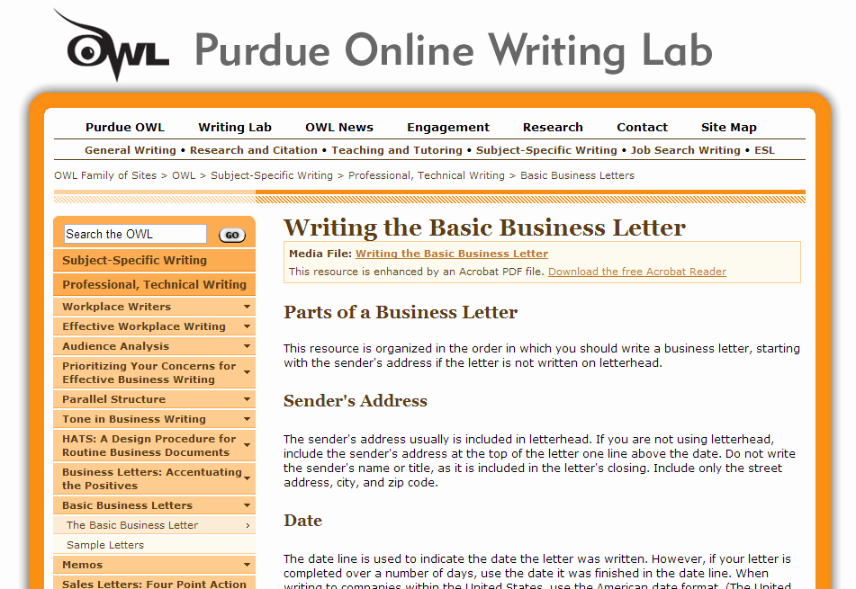 Business Letter format Purdue Owl Beautiful Purdue Line Writing Lab – Business Resources