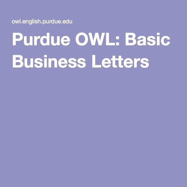 Business Letter format Purdue Owl Luxury 1000 Ideas About Business Letter Sample On Pinterest