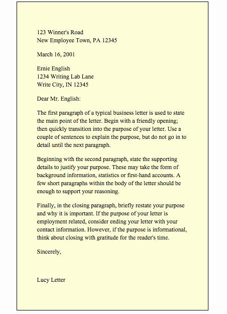 Business Letter format Purdue Owl Unique Business Letter – Irockenglish