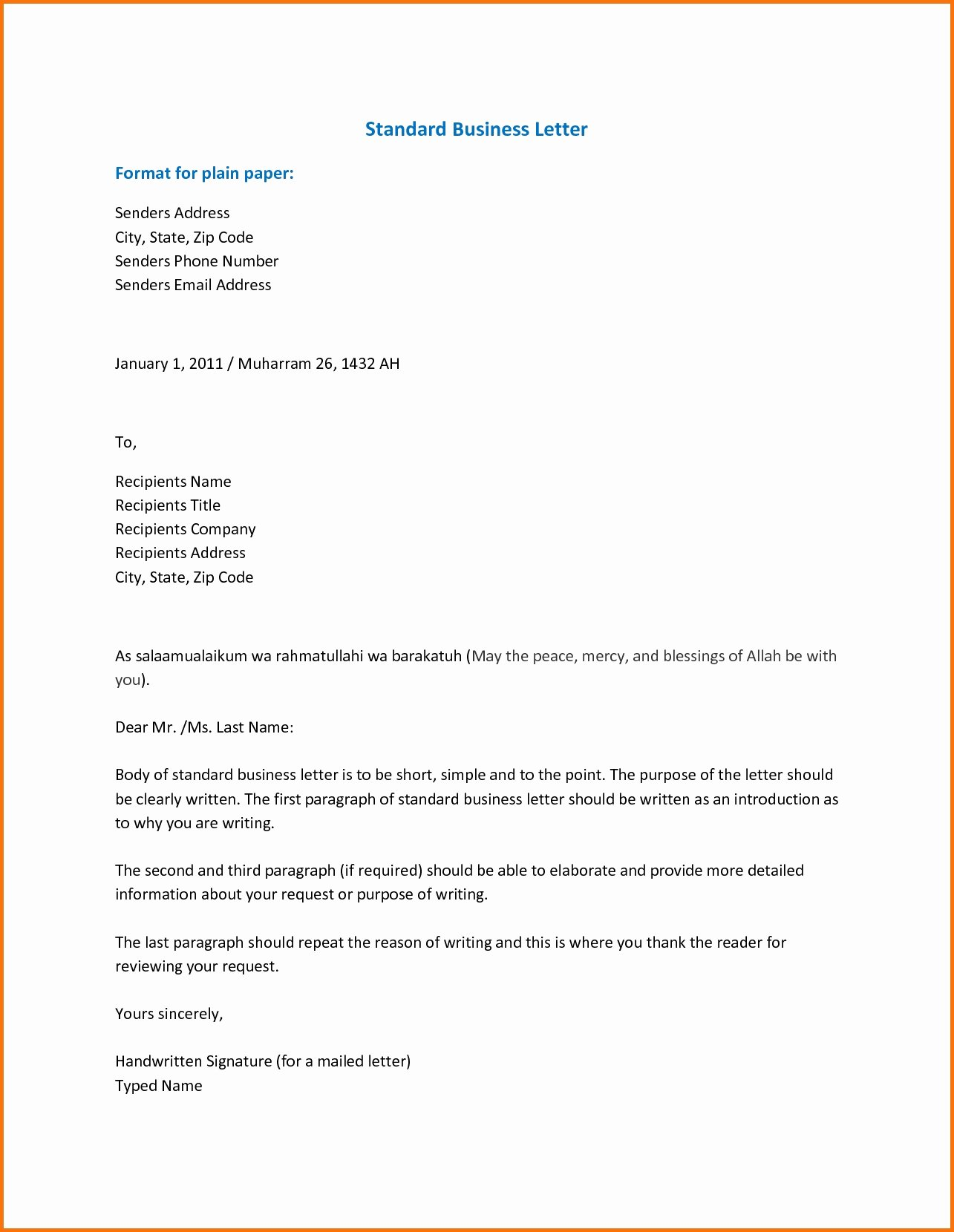 Business Letter format with Cc Lovely Standard Business Letter format Template