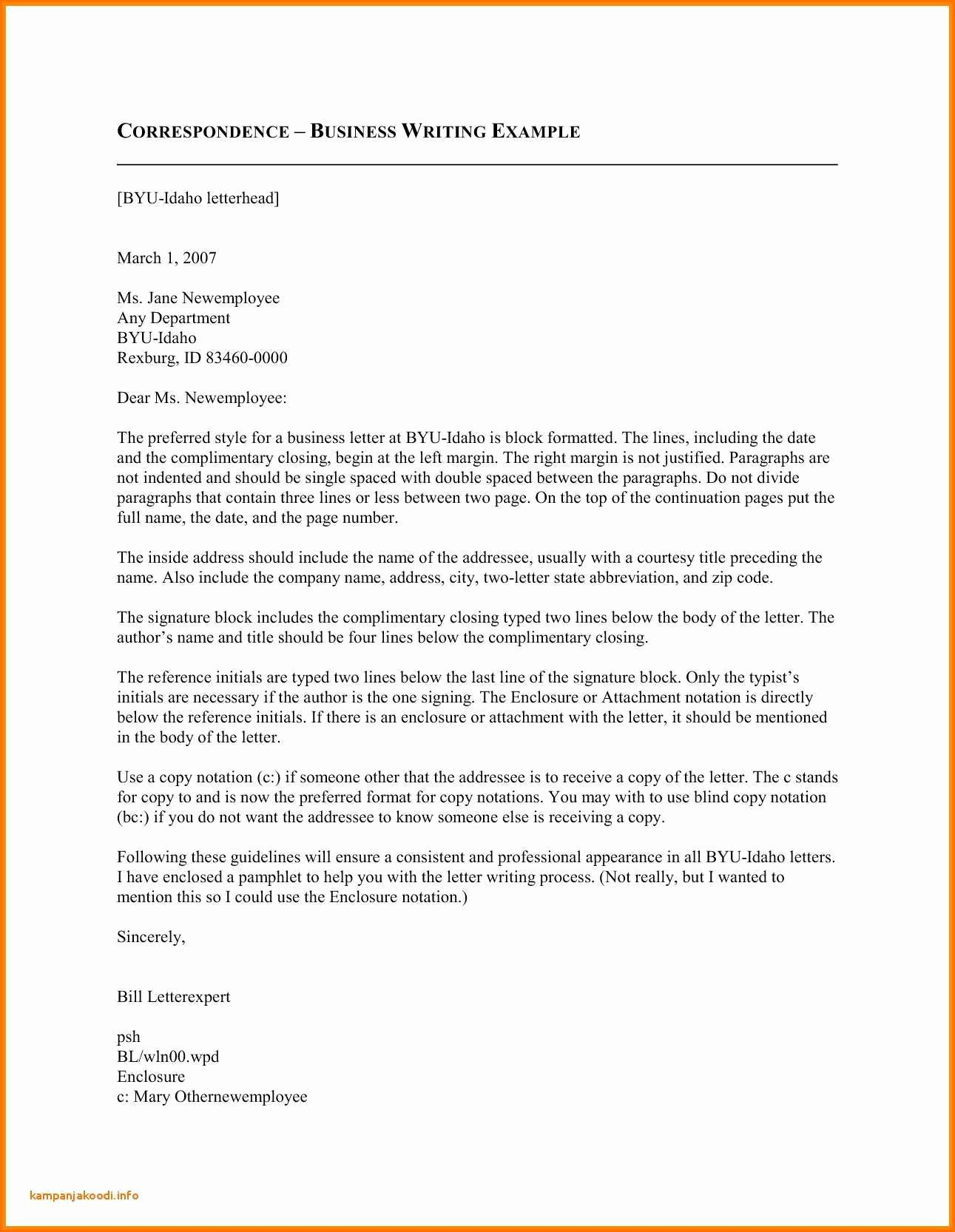 Business Letter format with Enclosure Awesome Business Letter Enclosure formal format with and Cc