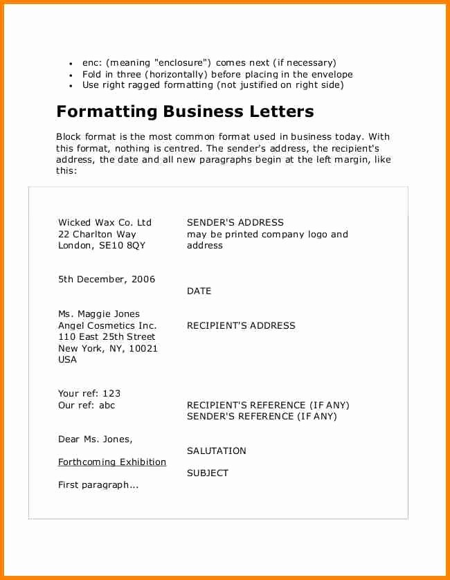 Business Letter format with Enclosure Inspirational format A Business Letter