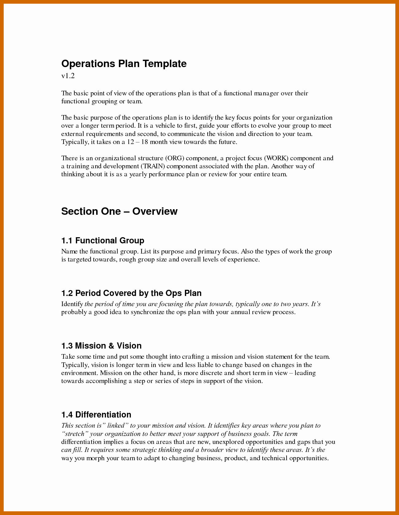 Business Operational Plan Template Awesome 9 10 Operations Plan Example