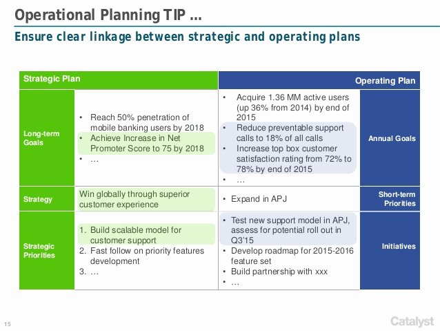 Business Operational Plan Template Awesome Catalyst Strategies Annual Operational Planning Framework