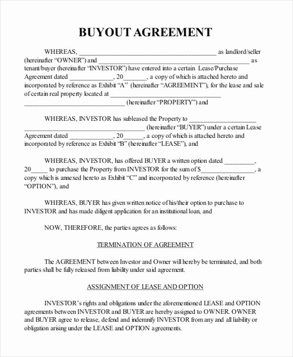 Business Partner Buyout Agreement Template Beautiful Sample Real Estate Agreement form 8 Free Documents In Pdf