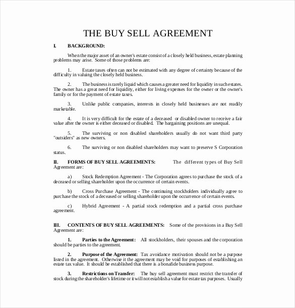 Business Partner Buyout Agreement Template Fresh 24 Buy Sell Agreement Templates Word Pdf