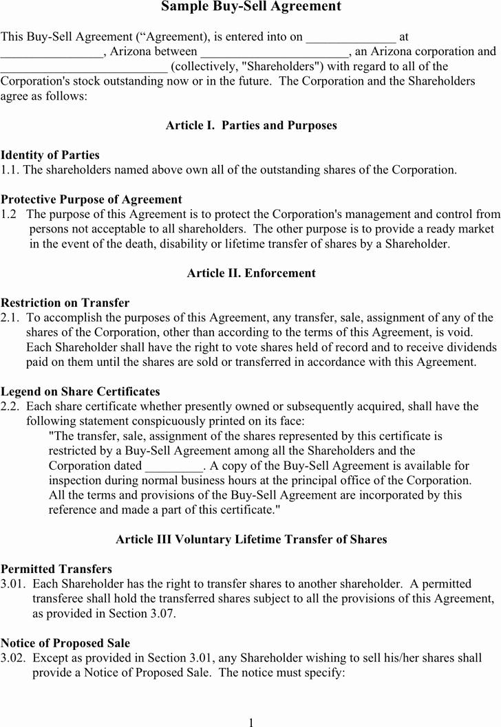 Business Partner Buyout Agreement Template Lovely Free Sample Buy Sell Agreement Doc 57kb