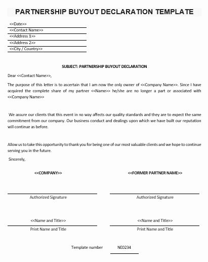Business Partner Buyout Agreement Template Lovely Ne0234 Partnership Buyout Declaration Template – English