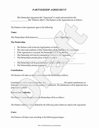 Business Partner Buyout Agreement Template Lovely Partnership Agreement Template form with Sample