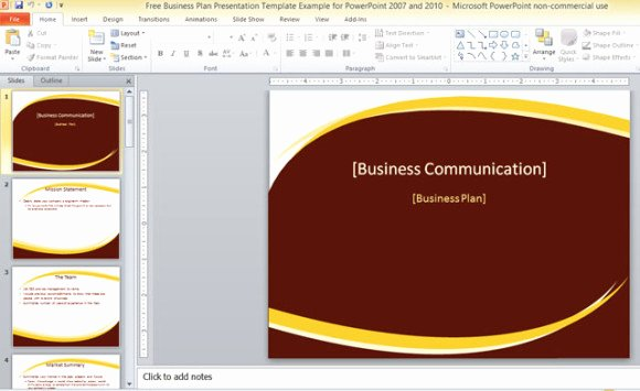 Business Plan Powerpoint Template Fresh Free Business Plan Presentation Template for Powerpoint