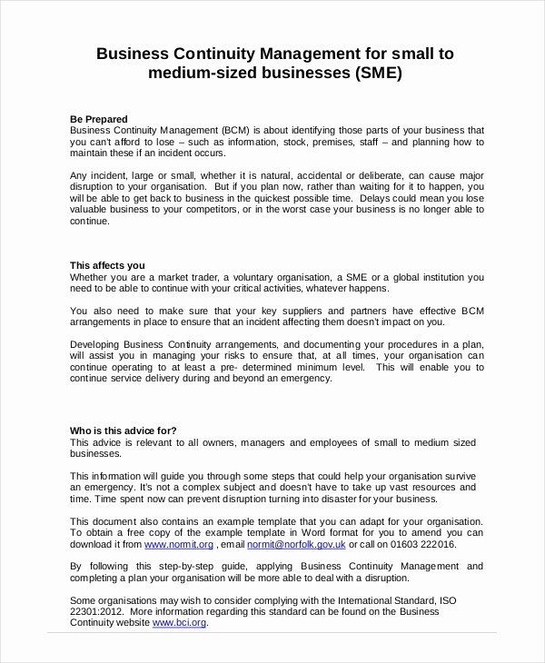 Business Plan Template Doc New Business Continuity Plan 9 Free Pdf Word Download