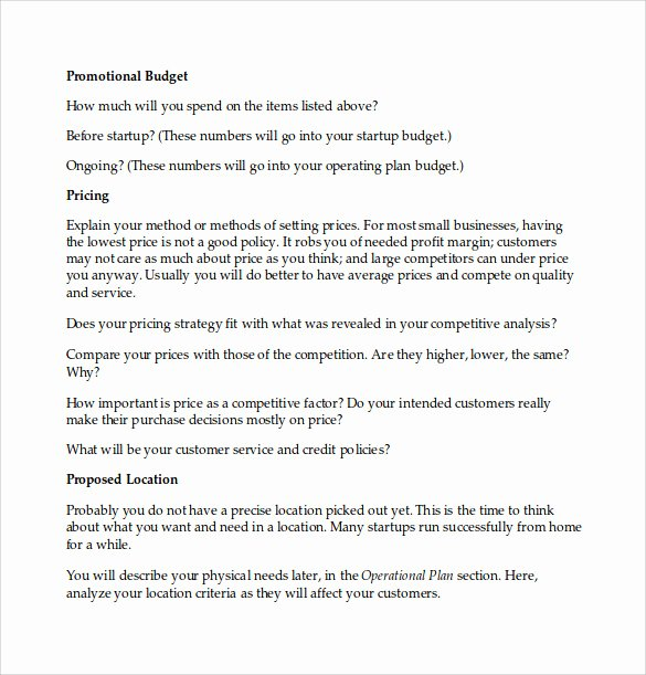 Business Plan Template Doc New Sample Business Plan 6 Documents In Pdf Word