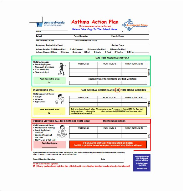 Business Plan Template for Kids Awesome 9 asthma Action Plan Template Doc Excel Pdf