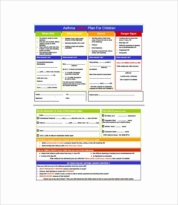 Business Plan Template for Kids Inspirational asthma Action Plan Template – 13 Free Sample Example