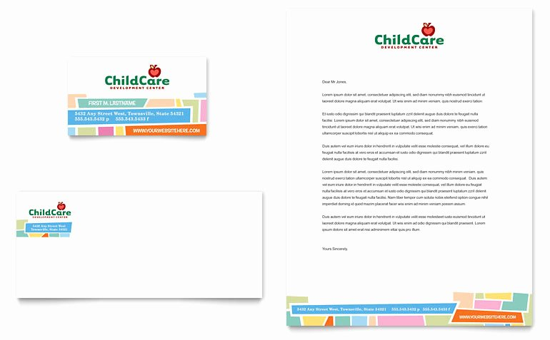 Business Plan Template for Kids New Preschool Kids & Day Care Business Card & Letterhead