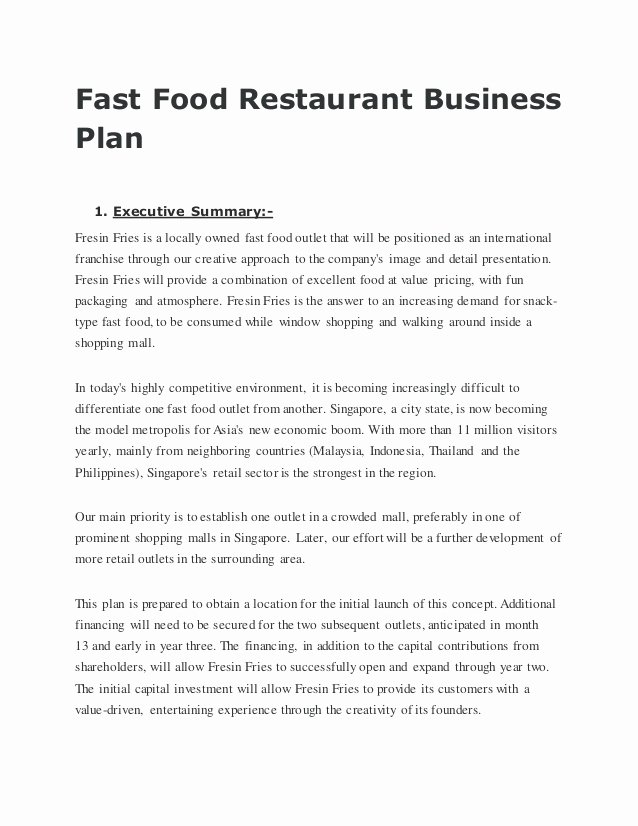 Business Plan Template Restaurant Lovely Fast Food Restaurant Business Plan