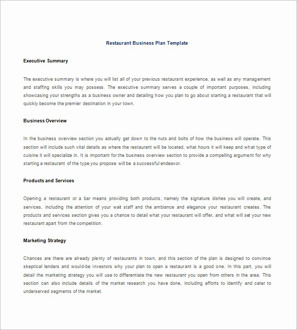 Business Plan Template Restaurant Unique Restaurant Business Plan Template 16 Word Excel Pdf