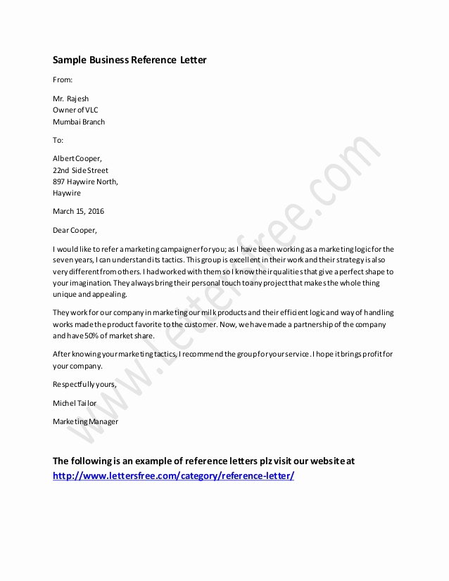 Business Recommendation Letter Sample Best Of Business Reference Letter Example
