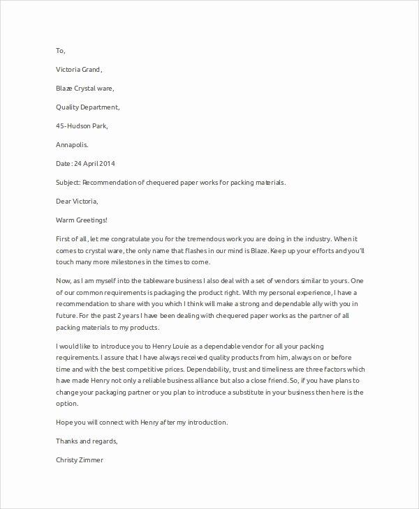 Business Recommendation Letter Sample Elegant 10 Sample Business Letters