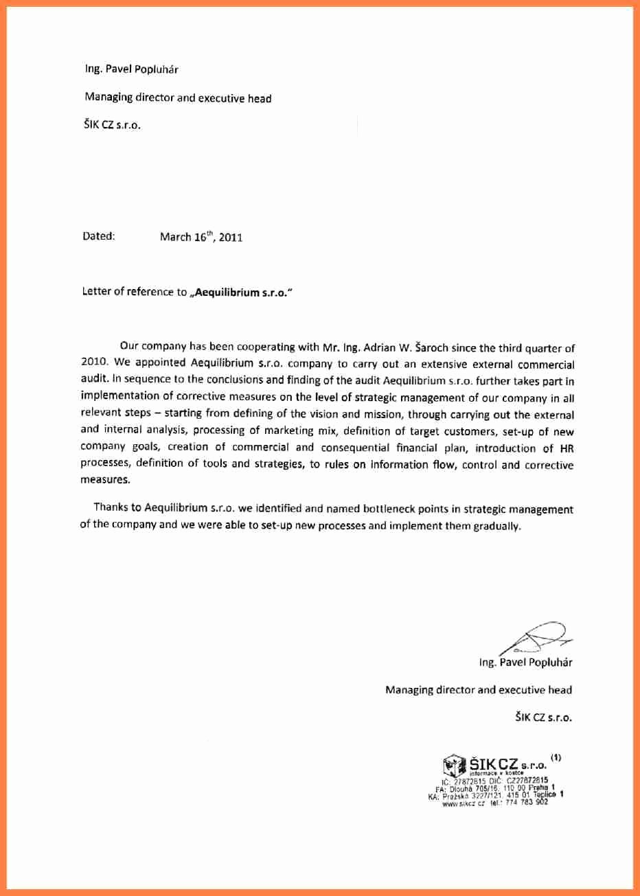 Business Recommendation Letter Sample Elegant 11 Letter Of Re Mendation Pany