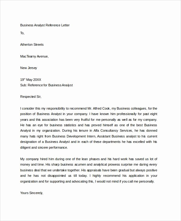 Business Recommendation Letter Template Awesome 5 Sample Business Reference Letters