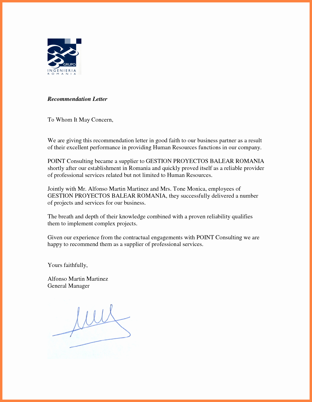 Business Recommendation Letter Template Lovely 7 Re Mendation Letter for A Pany Sample