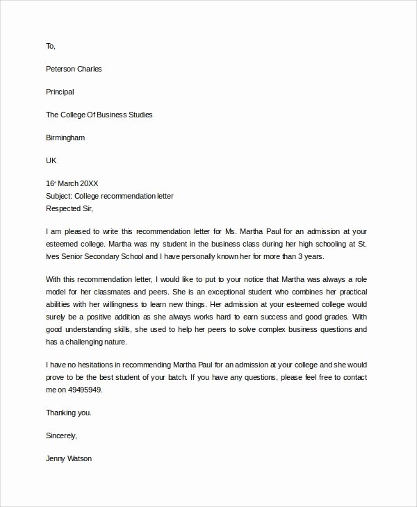 Business School Recommendation Letter Beautiful 7 Sample College Re Mendation Letters