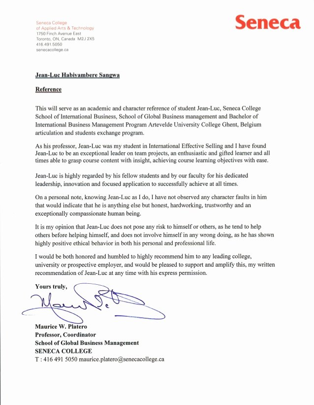 Business School Recommendation Letter Best Of Letter Of Re Mendation Seneca College School Of Global