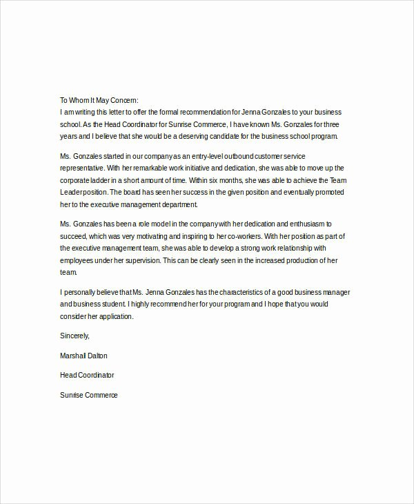 Business School Recommendation Letter Sample Beautiful 37 Re Mendation Letter format Samples